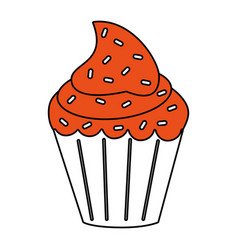 delicious cupcake with sprinkles icon image vector image