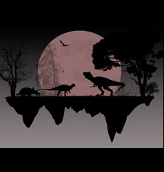 Dinosaurs silhouettes in front a full moon vector