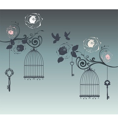 Doves and cages vector