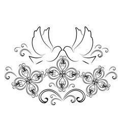 Doves with flourishes 2 vector