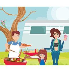 family having a picnic vector image