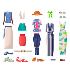 female bright summer clothes and stylish shoes set vector image
