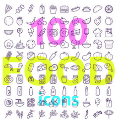 food icon big set line style icons pack vector image
