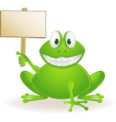 frog cartoon and blank sign vector image