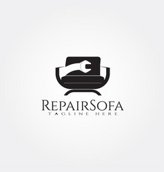 Furniture logo templatewrench and seat icon vector