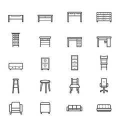 Furniture Office and Home Accessories Icons Line vector image