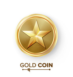 Game gold coin with star realistic golden vector
