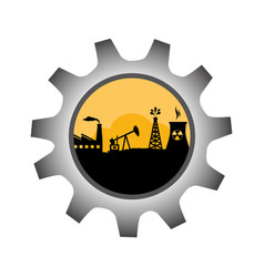 Gear wheel icon border with background silhouette vector