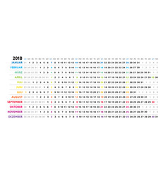 german linear calendar sundays selected vector image
