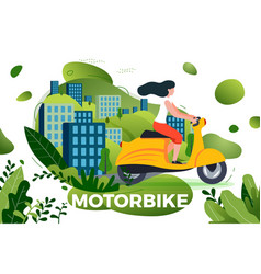 girl riding on motorbike vector image