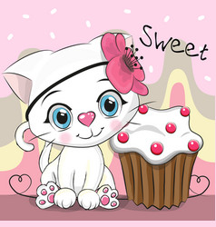 Greeting card cute kitten with cake vector