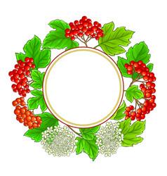 Guelder rose frame on white background vector