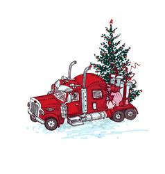 hand drawn red truck with christmas tree and gifts vector image
