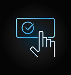Hand on check mark button creative outline vector