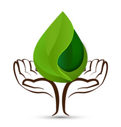 Hands with drop water shape ecology leaf logo vector