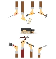 Hands with tools vector image