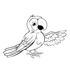 happy cartoon parrot vector image