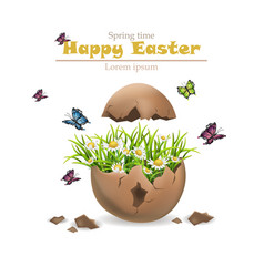 Happy easter card cracked egg and flowers vector