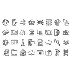 Hosting icons set outline style vector