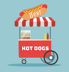 Hot dogs street cart vector