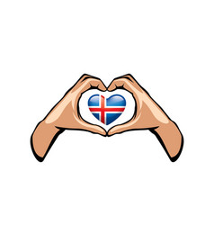 Iceland flag and hand on white background vector