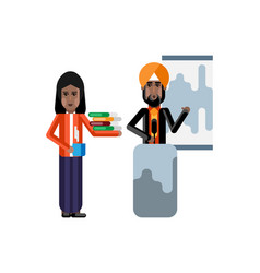 Indian sikh speaker doing business presentation vector