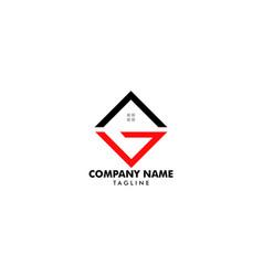 initial letter g house real estate logo design vector image