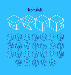 isometric 3d outline font three-dimensional vector image