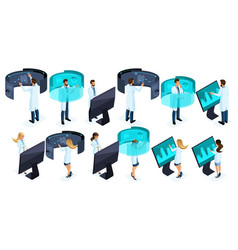 isometry large set doctors in the private clinic vector image