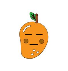 Kawaii mango fruit cartoon character facial vector