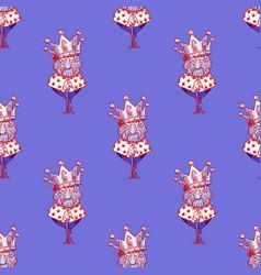 King wearing huge crown seamless pattern vector