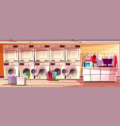 laundry shop laundromat room vector image