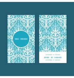 light blue swirls damask vertical round vector image