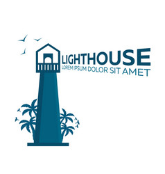Lighthouse logo palm and birds flat vector
