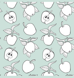 line apple seamless pattern vector image