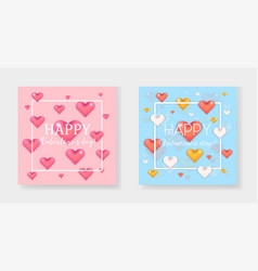 lovely pink and blue valentines day cards set vector image