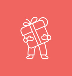 Man holds a gift box icon with bow vector