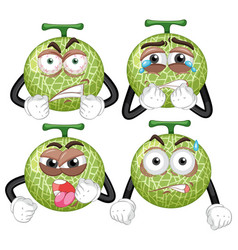 melon with four different expressions vector image