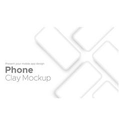 mobile app design clay phone showcase mockup vector image