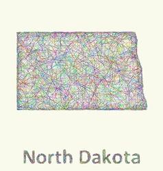 North Dakota line art map vector