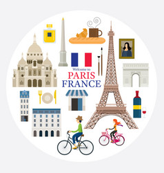 paris france landmarks and travel label vector image