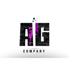purple black alphabet letter ag a g logo vector image