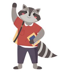 Raccon funny animal student lovely cute raccoon vector