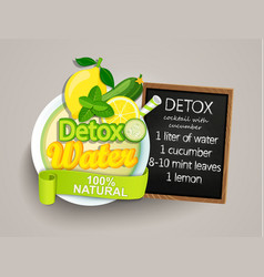 recipe detox cocktail-cucumberlemonwatermint vector image