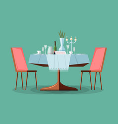 Reserved modern restaurant table with tablecloth vector