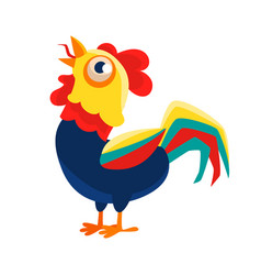 Rooster cartoon character crowingcock vector