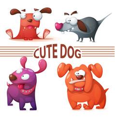 set color dog cute vector image