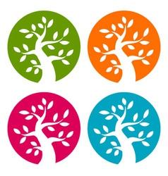 set colorful season tree bold icons vector image