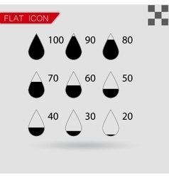 set drop black icons square vector image