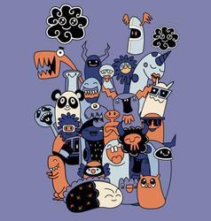 Set funny cool monsters aliens or fantasy vector